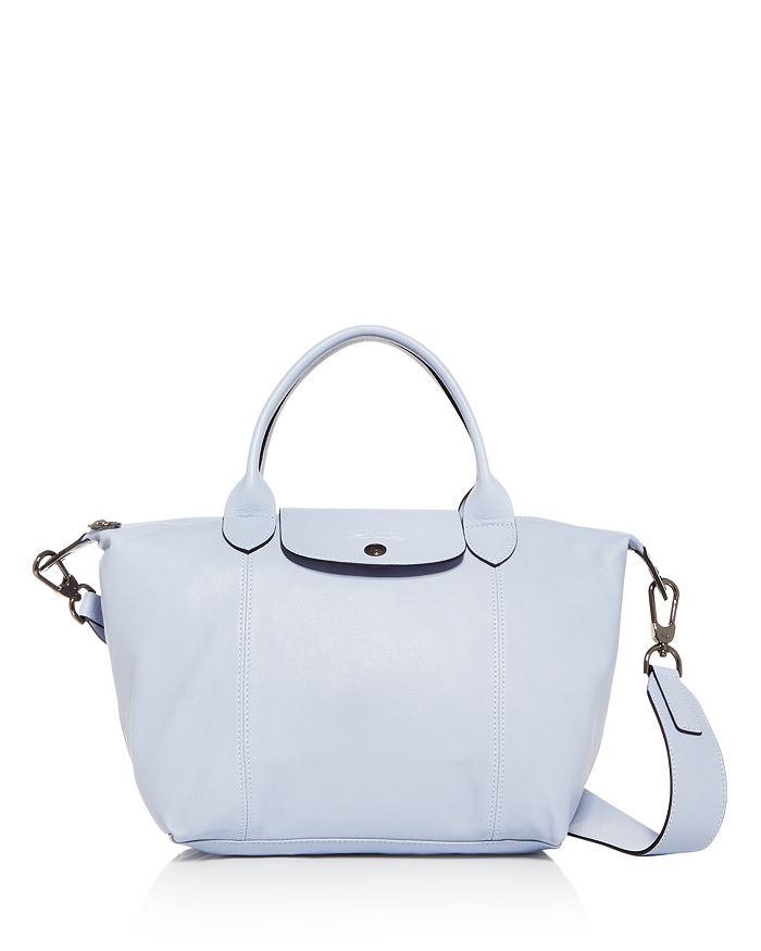 Small Le Pliage Cuir Leather Shoulder Bag In Cloud Blue