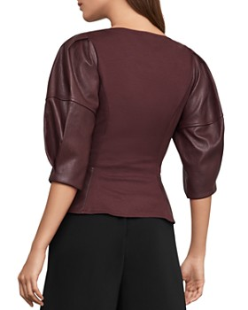 BCBGMAXAZRIA - Puff-Sleeve Faux Leather & Ponte Top