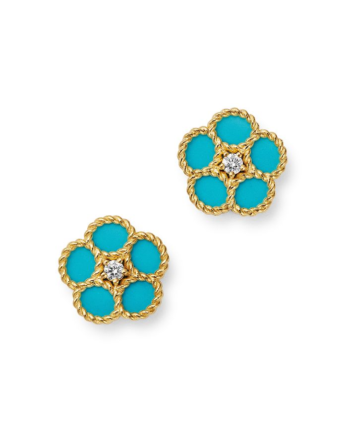 Roberto Coin - 18K Yellow Gold Daisy Diamond & Turquoise Stud Earrings - 100% Exclusive