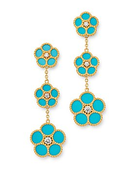 Roberto Coin - 18K Yellow Gold Daisy Diamond & Turquoise Drop Earrings - 100% Exclusive