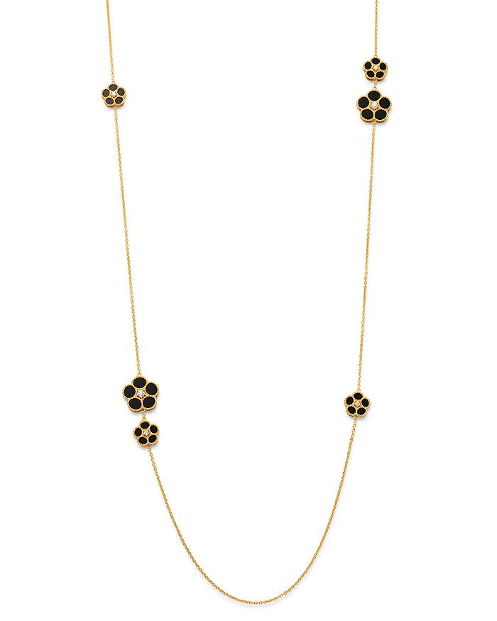 "Roberto Coin - 18K Yellow Gold Daisy Diamond & Black Onyx Station Necklace, 31"" - 100% Exclusive"