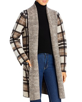 Donna Karan - Plaid Flyaway Sweater Coat