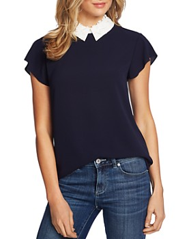 CeCe - Flower-Appliquéd Collar Blouse