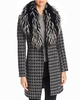 Via Spiga - Faux Fur-Collar Houndstooth Reefer Coat