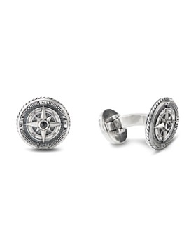 David Yurman - Sterling Silver Maritime Compass Cufflinks with Black Diamonds