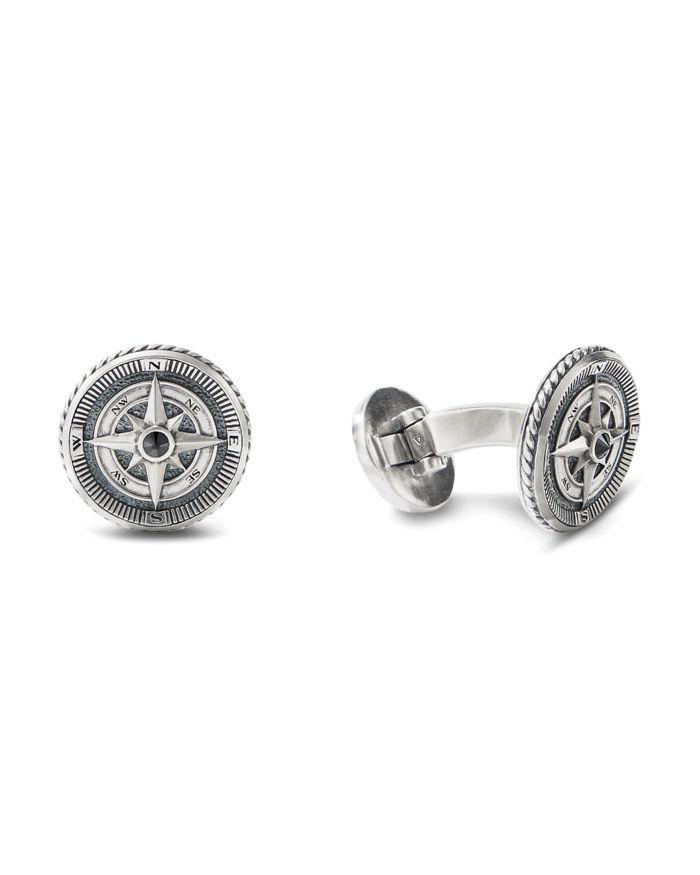 David Yurman Sterling Silver Maritime Compass Cufflinks with Black Diamonds  | Bloomingdale's