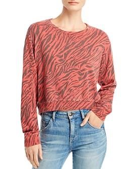 Sundry - Zebra Print Cropped Sweatshirt