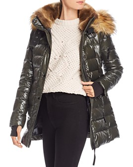 AQUA - Faux Fur-Trim Glossy Puffer Coat - 100% Exclusive