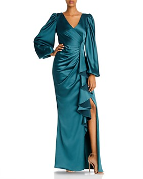 Aidan Mattox - Draped Satin Balloon-Sleeve Gown