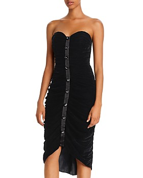 Jill Jill Stuart - Velvet Strapless Button-Accent Dress
