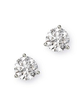 Bloomingdale's - Certified Diamond Solitaire Stud Earrings in 14K White Gold, 3.0 ct. t.w. - 100% Exclusive