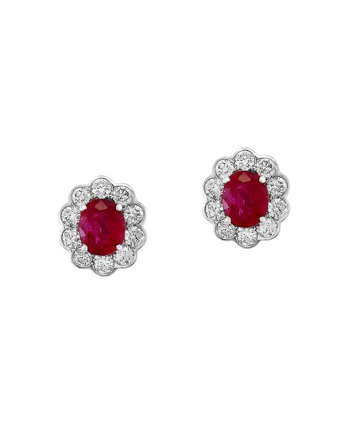 Bloomingdale's Ruby & Diamond Stud Earrings in 14K White Gold - 100% Exclusive  | Bloomingdale's