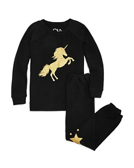 CHASER - Girls' Unicorn Sweatshirt & Star Jogger Pants - Big Kid