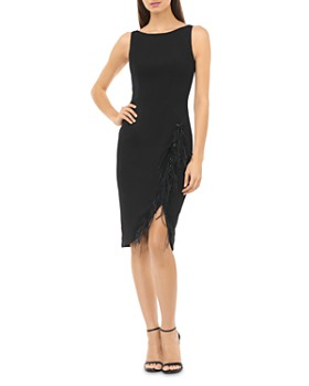 Carmen Marc Valvo Infusion - Faux Feather-Trimmed Cocktail Dress