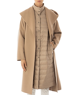 Peserico Hooded Wool & Cashmere 2-in-1 Coat & Down Vest-Women