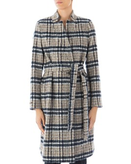 Peserico - Belted Plaid Virgin Wool-Blend Coat