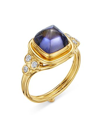 Temple St. Clair - 18K Yellow Gold High Classic Sugar Loaf Ring with Iolite & Diamonds