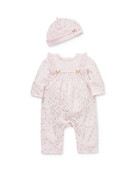 Little Me - Girls' Foil Star Print Coverall & Hat Set - Baby