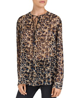 The Kooples - Abstract Leopard-Print Keyhole Top