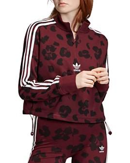 Adidas - Triple Stripe Floral Half-Zip Sweatshirt