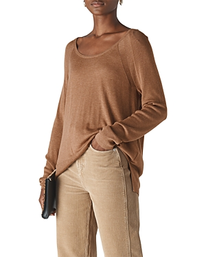 Whistles Scoop Neck Mixed-Knit Top-Women