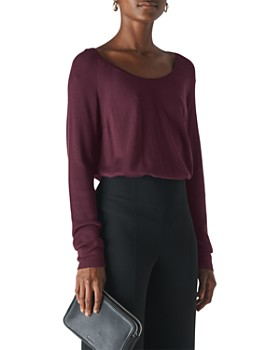 Whistles - Scoop Neck Mixed-Knit Top