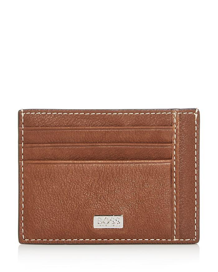 Hugo Boss Crosstown Leather Card Case In Brown