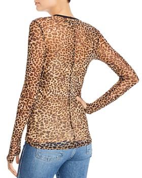 Enza Costa - Mesh Long-Sleeve Leopard-Print Top