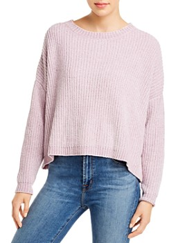 Elan - Chenille Overlay-Back Cropped Sweater