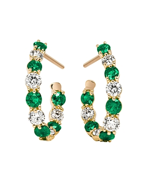 Gumuchian 18K Yellow Gold New Moon Diamond & Emerald Hoop Earrings