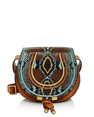 Chloe Marcie Small Python Print Round Crossbody-Handbags