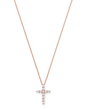 Bloomingdale's - Diamond Small Cross Pendant Necklace in 14K Rose Gold, 0.33 ct. t.w. - 100% Exclusive