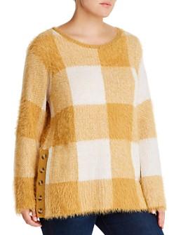 Single Thread Plus - Fuzzy Plaid Sweater
