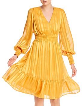 AQUA - Shadow Stripe Smocked Dress - 100% Exclusive