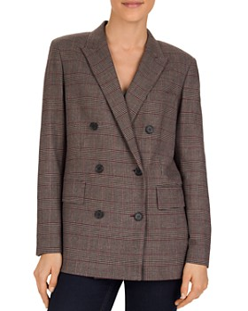 Gerard Darel - Vanylle Double-Breasted Glen Plaid Blazed