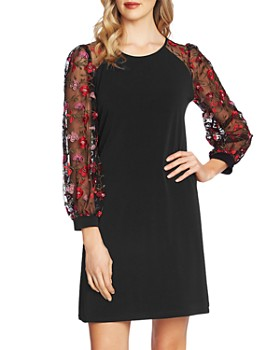 CeCe - Rose-Embroidered Sheer-Sleeve Dress