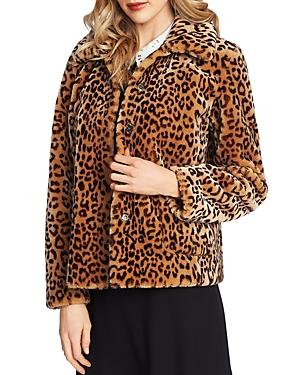 CeCe Leopard Print Faux-Fur Jacket-Women