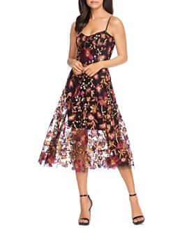 Dress the Population - Uma Floral Fit-and-Flare Dress