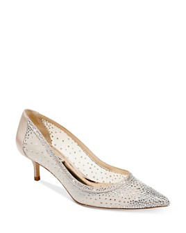Badgley Mischka - Women's Emi Crystal-Embellished Kitten Heel Pumps