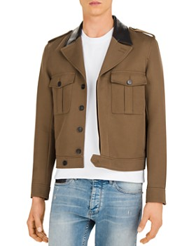 The Kooples - Nerium Twill Jacket with Leather Collar