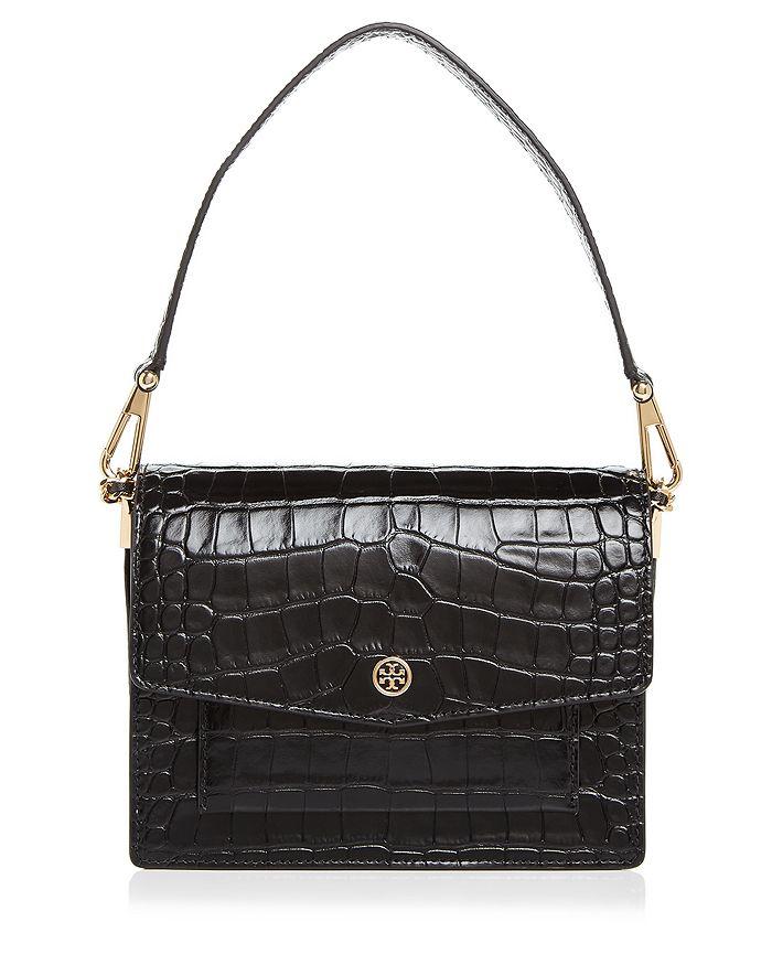 Robinson Crocodile Embossed Medium Leather Shoulder Bag