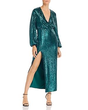Saylor Becca Sequin Faux Wrap Dress