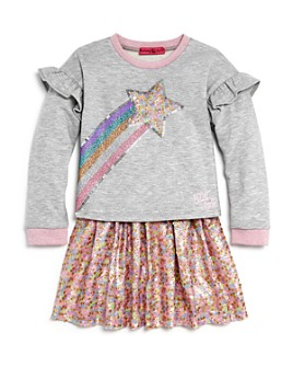 JOJO SIWA by BETSEY JOHNSON - Girls' Shooting Star Top & Sequin Skirt Set, Little Kid - 100% Exclusive