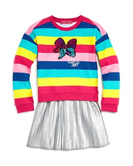 JOJO SIWA by BETSEY JOHNSON - Girls' Striped Top & Metallic Skirt Set, Little Kid - 100% Exclusive