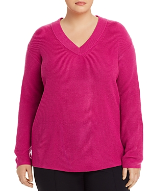 Vince Camuto Plus V-Neck Ribbed Sweater