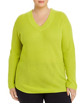 VINCE CAMUTO Plus - V-Neck Ribbed Sweater