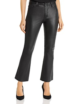 7 For All Mankind - High-Waisted Slim Kick Flare Leather Pants