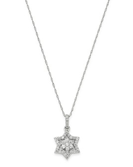 Bloomingdale's - Diamond Star of David Pendant Necklace in 14K White Gold, 0.25 ct. t.w. - 100% Exclusive