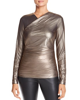 Elie Tahari - Sadira Metallic Faux-Wrap Top