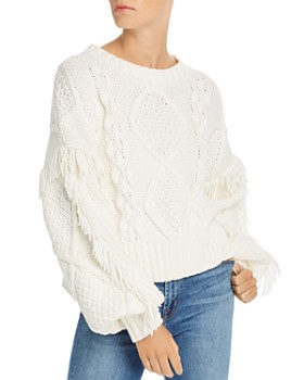 Line & Dot - Fringe-Trim Cable-Knit Sweater